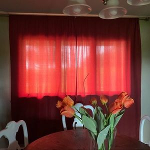 Long wide Maroon 2 panel curtains